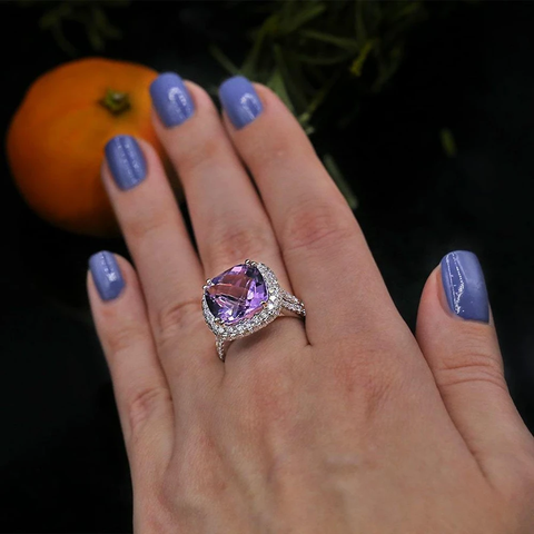 Fashion ring features center 13 mm in Radius Pink Amethyst RN-8000