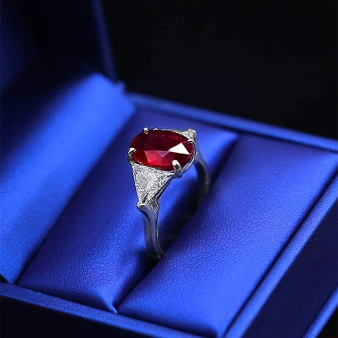 Beautiful Color Stone Cocktail Ring with center Ruby and side Diamonds NE-175000