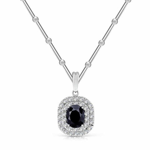 Oval-Cut Ruby Pendant with Diamond Double Halo 18kt White Gold PEN-5750