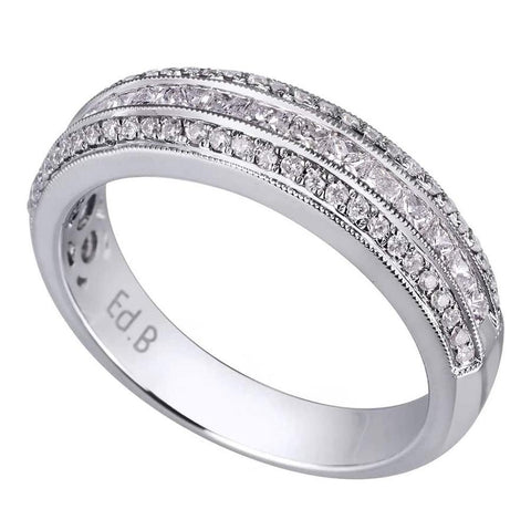 Luxury and modern design 18K white gold band is set with .66ct diamonds KR10552