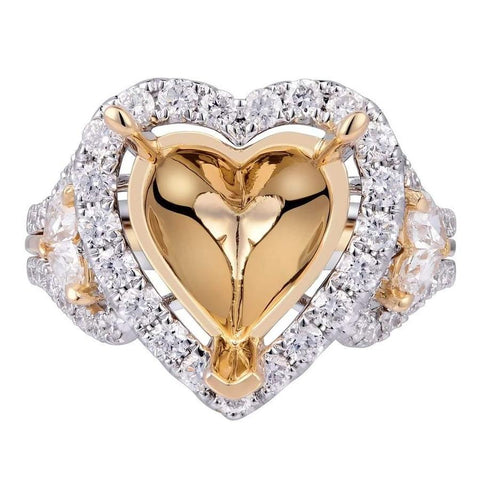 Romantic lovely heart design halo setting 18k white and yellow gold ring with 1.30ct diamonds KR12474XD400