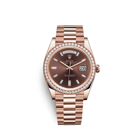 Rolex Day-Date 40 Watch Chocolate dial, Diamond Bezel, President bracelet, 228345rbr-0006