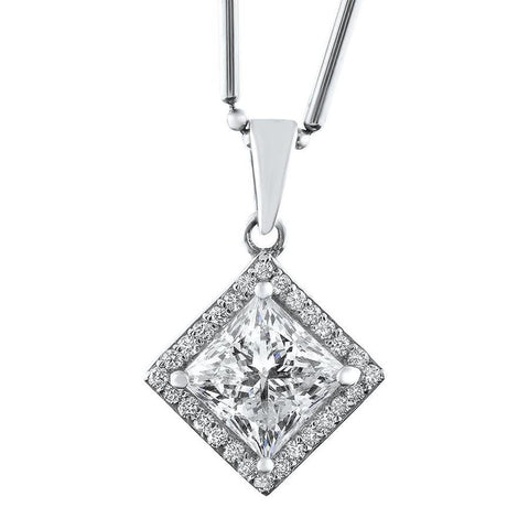 14kt White Gold Solitaire With halo of 2.31ct diamonds NEC-21500