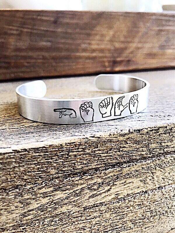 PEACE: ASL stamped cuff