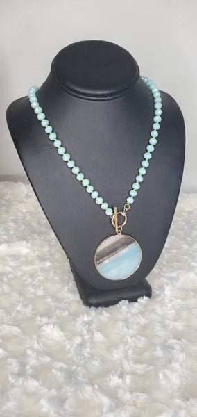 Circle Stone Pendant Necklace