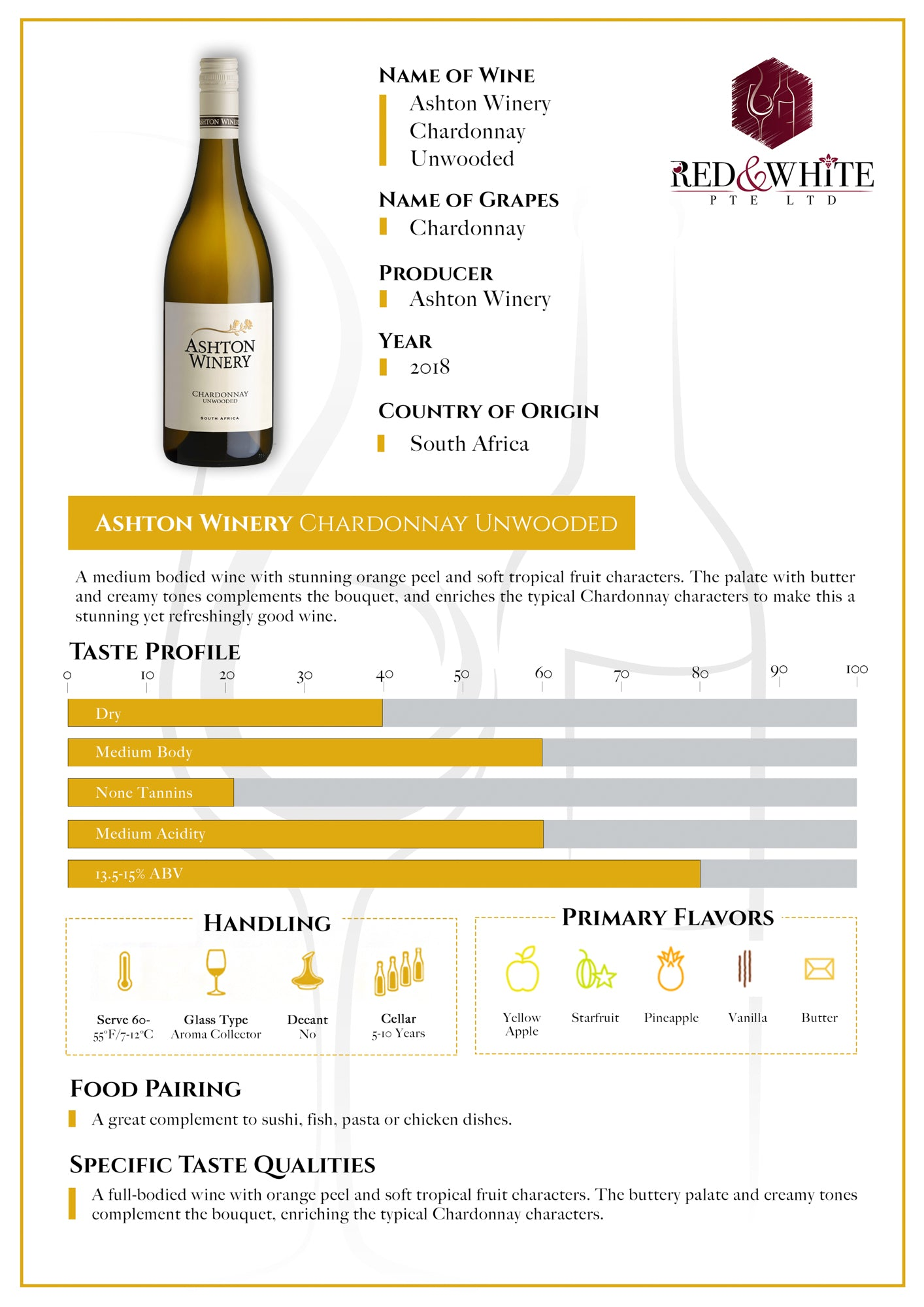 Ashton Winery Chardonnay 2019