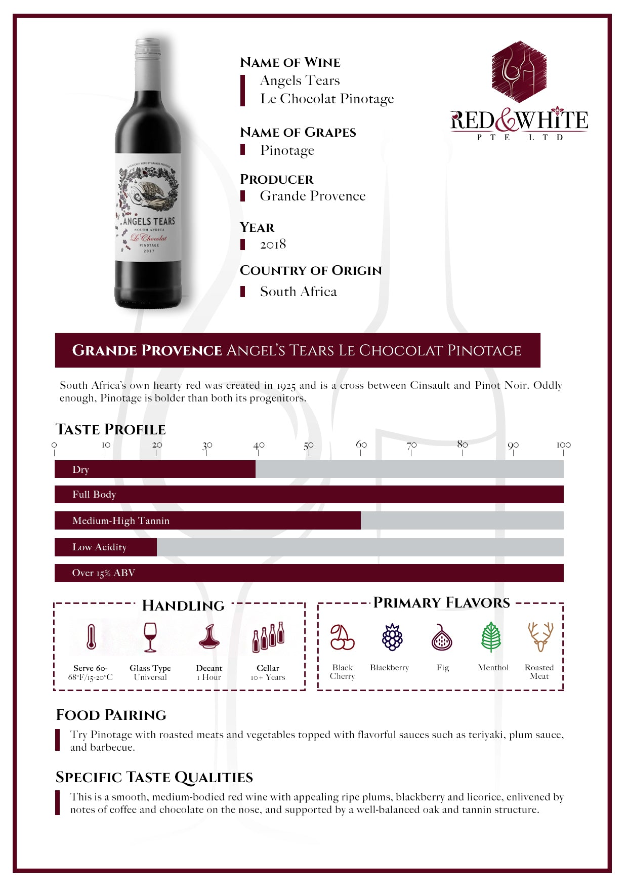 Grande Provence Angel's Tears Le Chocolat Pinotage 2018