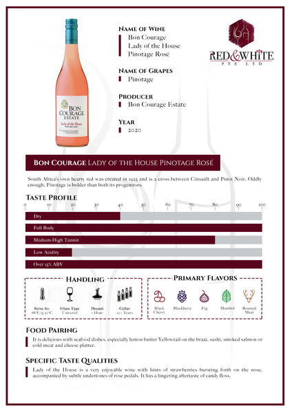Bon Courage Lady of the House Pinotage Rose 2020