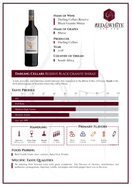 Darling Cellars Reserve Black Granite Shiraz 2018