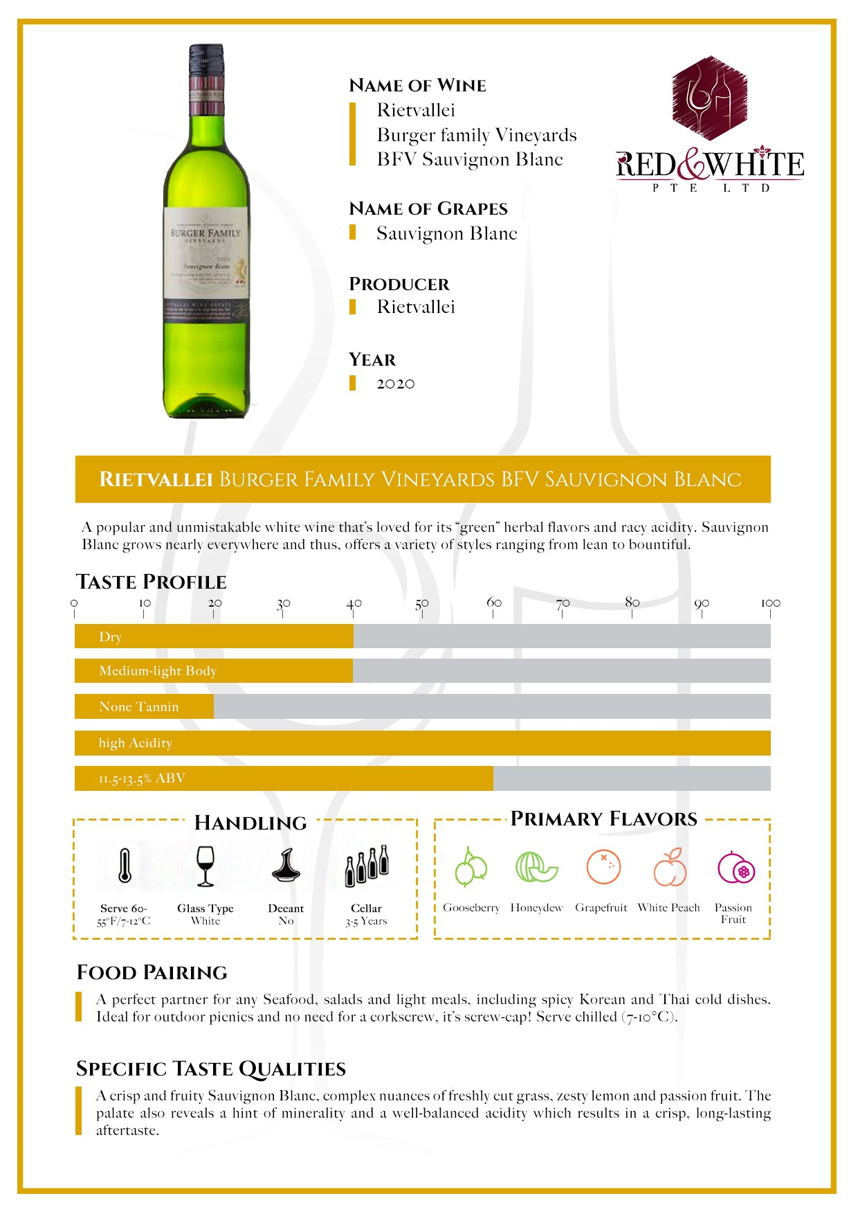 Rietvallei Burger Family Vineyards BFV Sauvignon Blanc 2020