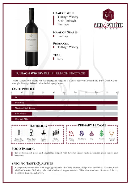 Tulbagh Winery Klein Tulbagh Pinotage 2015