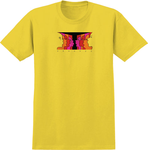 Krooked Face Off T Shirt Yellow/Red