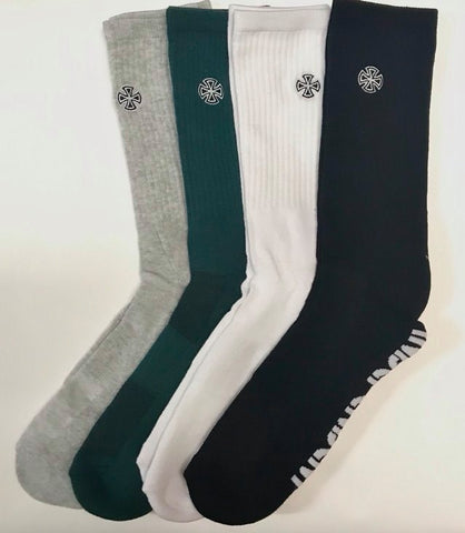 Independent Cross Embroidery Socks 4 Pack Assorted