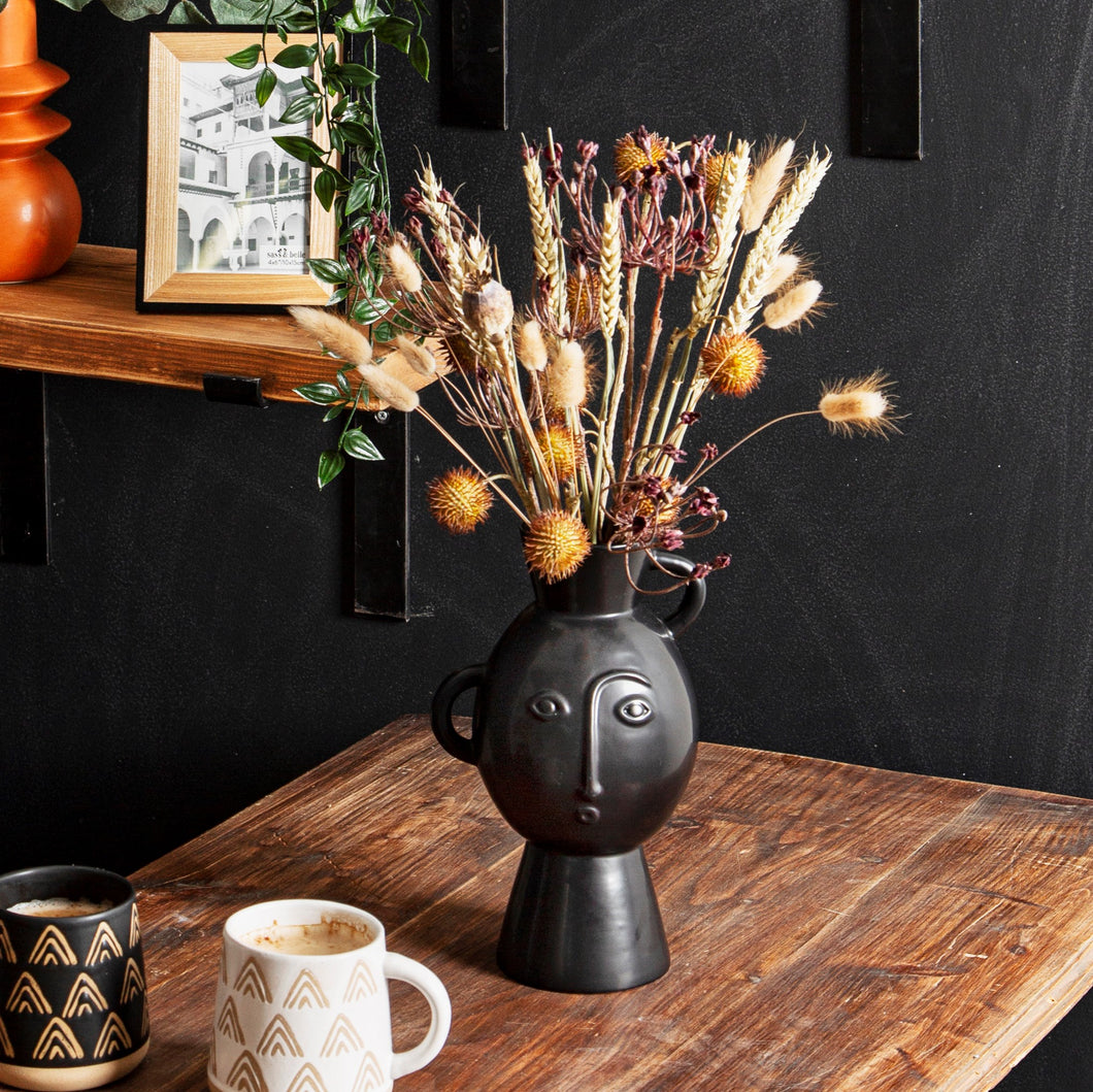 Amira Abstract Face Vase with Handles in Matte Black