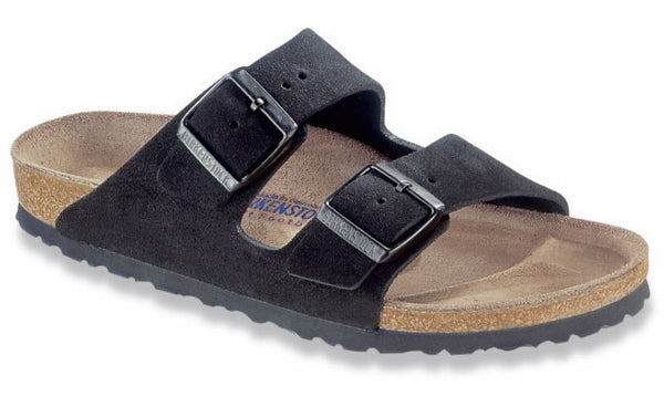 BIRKENSTOCK ARIZONA SOFT FOOTED BLACK SUEDE - COSMOTOG