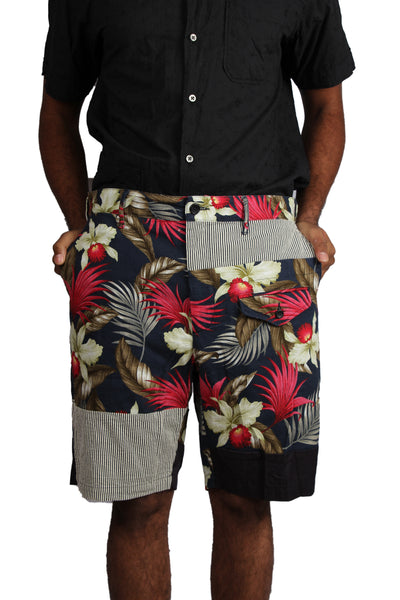 GHURKA SHORTS - NAVY HAWAIIAN FLORAL JAVA CLOTH
