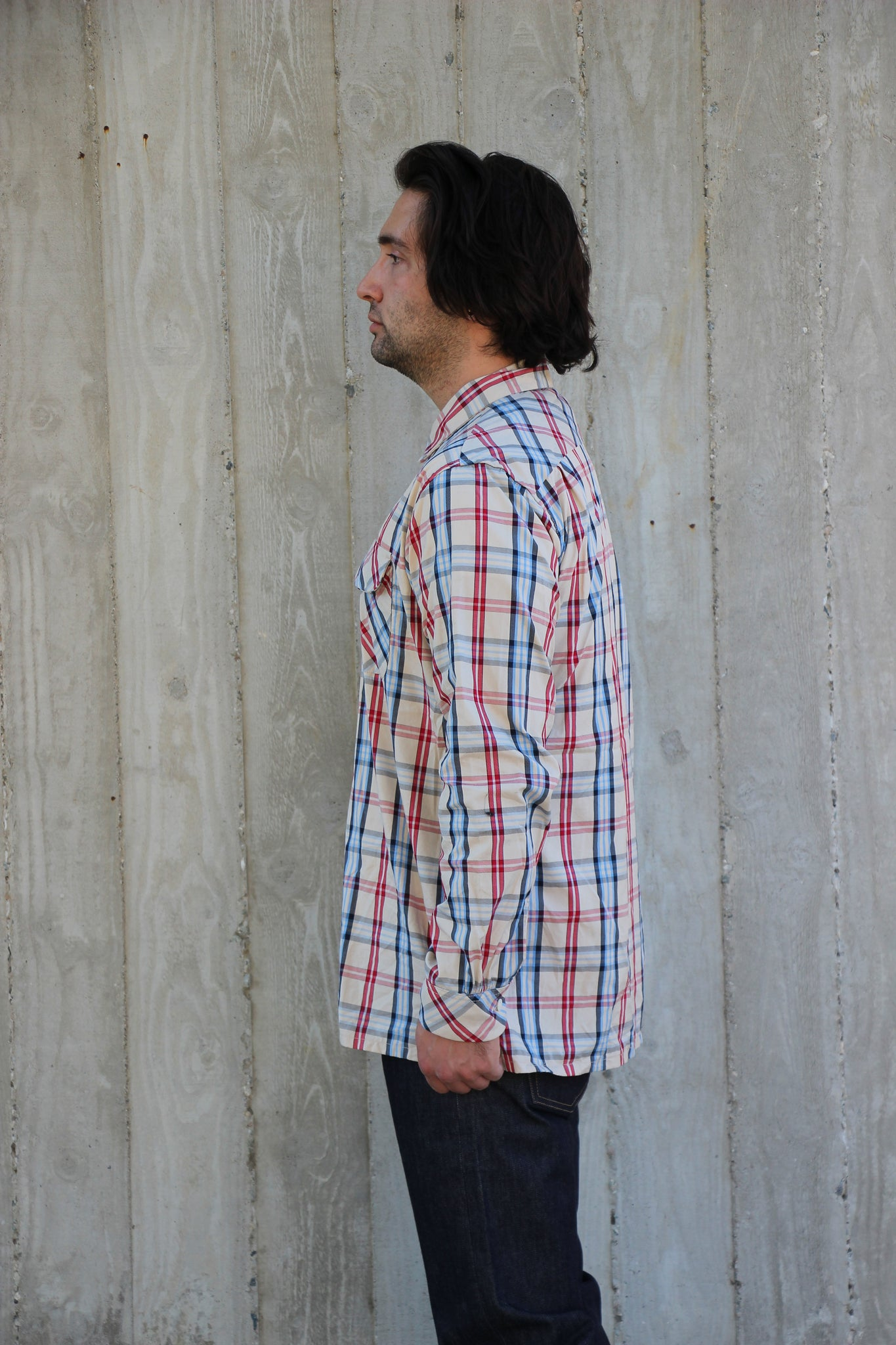 CLASSIC SHIRT - KHAKI/RED/BLUE