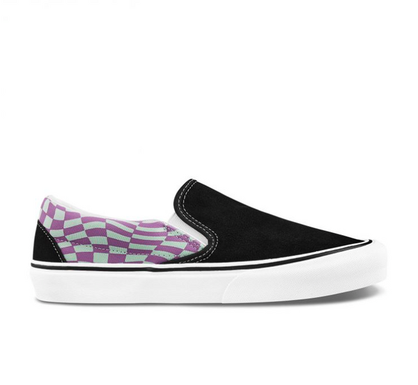 CLASSIC SLIP-ON TWIST WARP CHECKER - BLACK/PAPRIKA