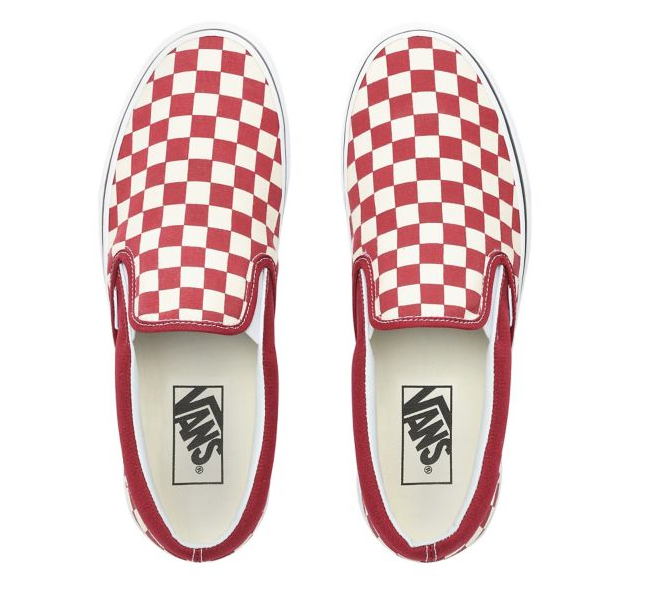 CHECKERBOARD SLIP-ON SHOES - (Checkerboard) Rumba Red/True White