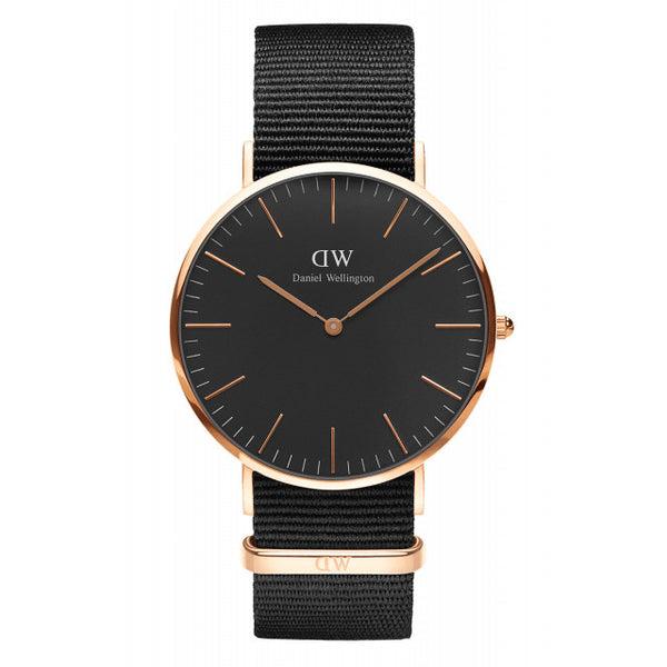 BLACK CORNWALL MAN WATCH ROSE GOLD 40mm - COSMOTOG