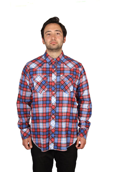 WESTERN SHIRT - COTTON PLAID - RED/ROYAL BLUE