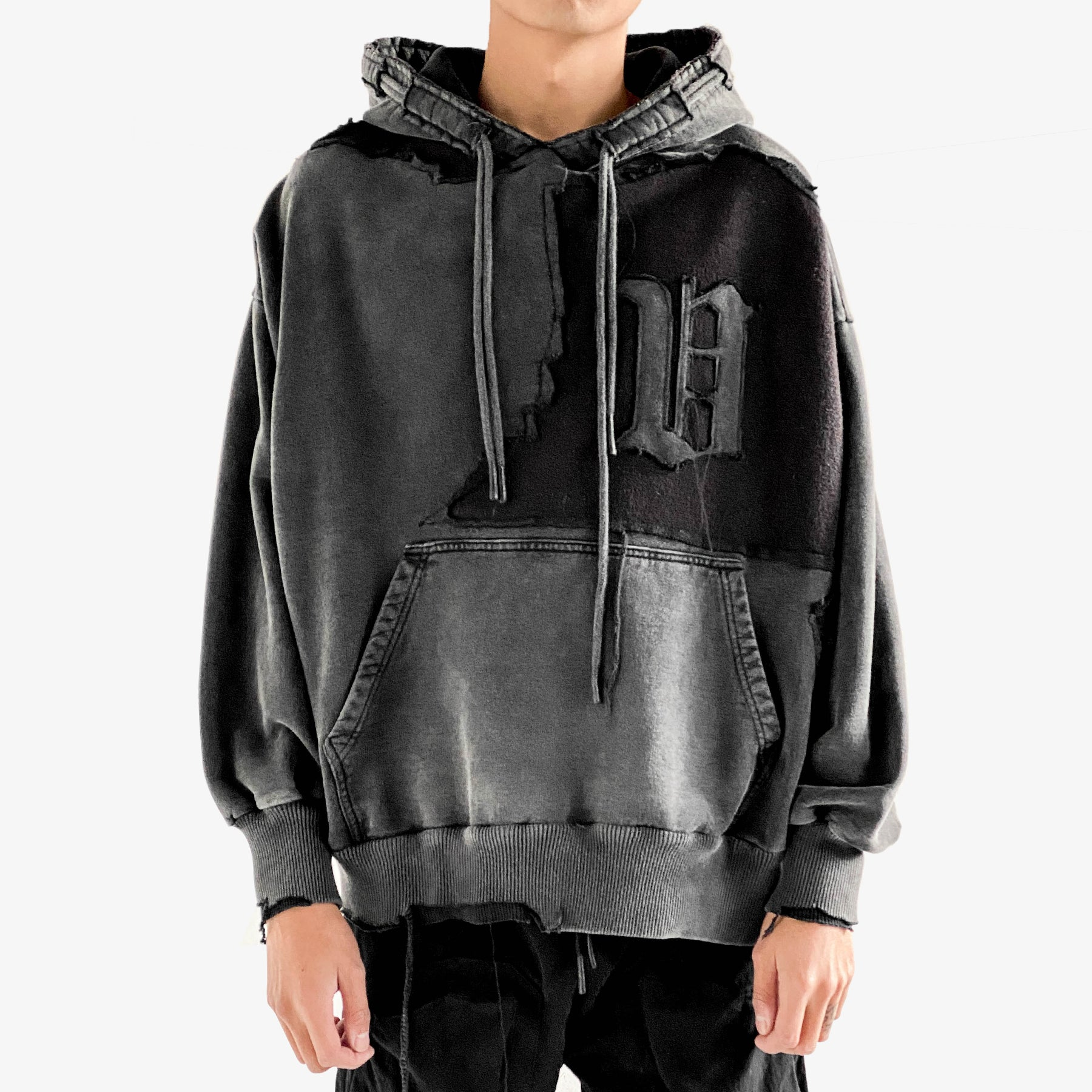 DOUBLE CORD CRACKED HOODIE