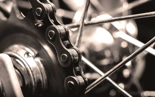 Close up of bike gear chain