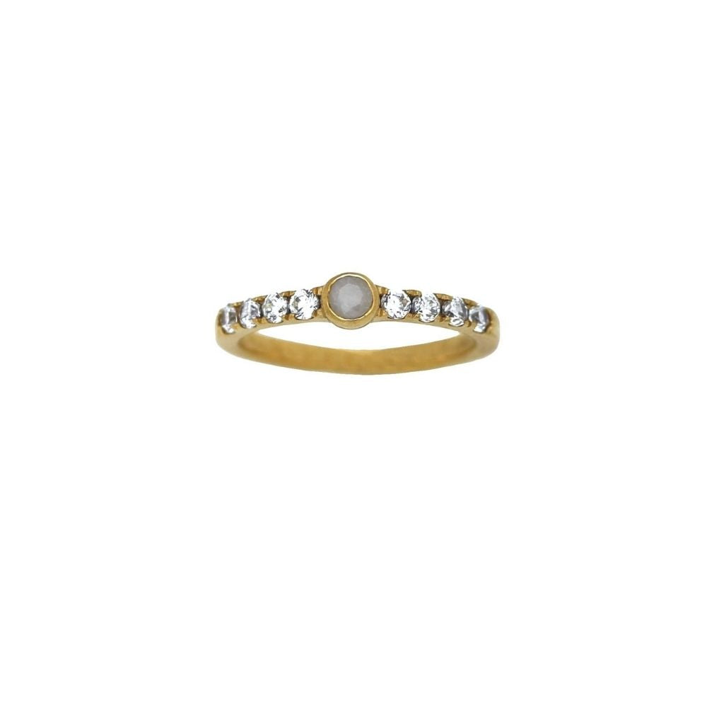 Ring Tiny White Agate Gold