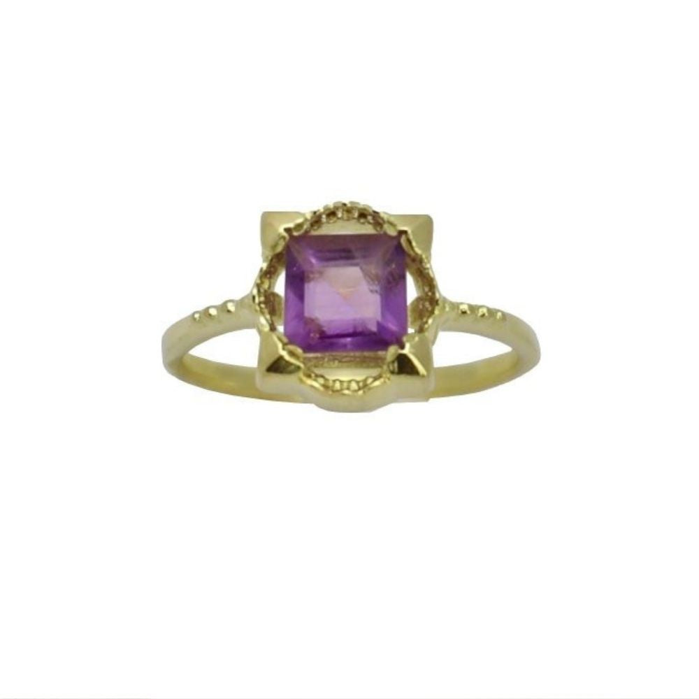 Ring Vintage Amethyst Square Ring Gold