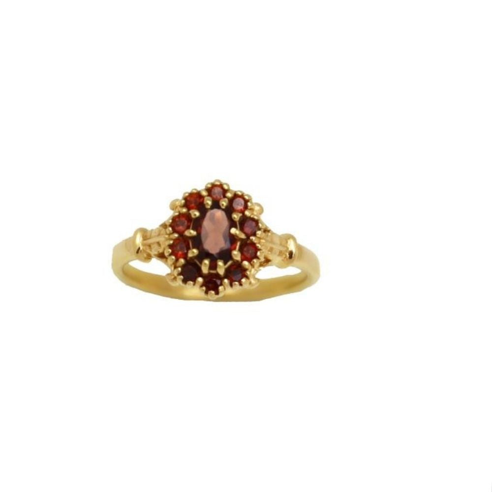 Ring Vintage Garnet Flower Gold