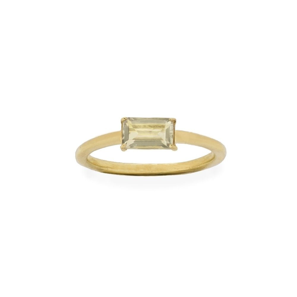 Ring Green Amethyst Baguette Gold