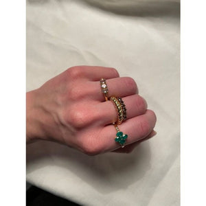 Ring Vintage Green Onyx Gold