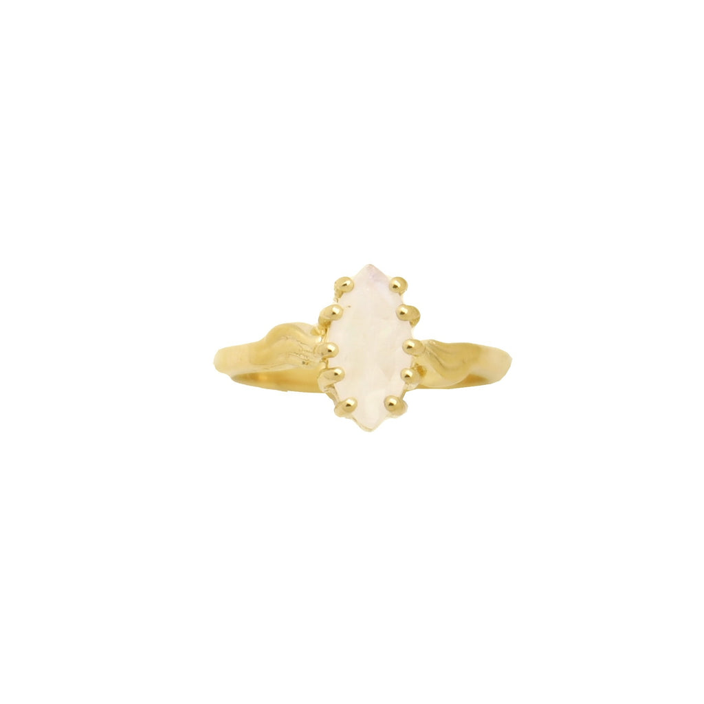 Ring Vintage Moonstone Marquise Gold