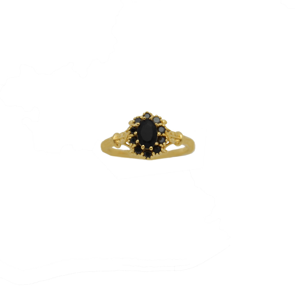 Ring Vintage Onyx Flower Gold