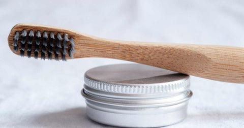 close up of bamboo toothbrush