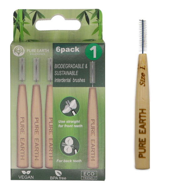 Natural Bamboo Interdental Brushes - 5 sizes available