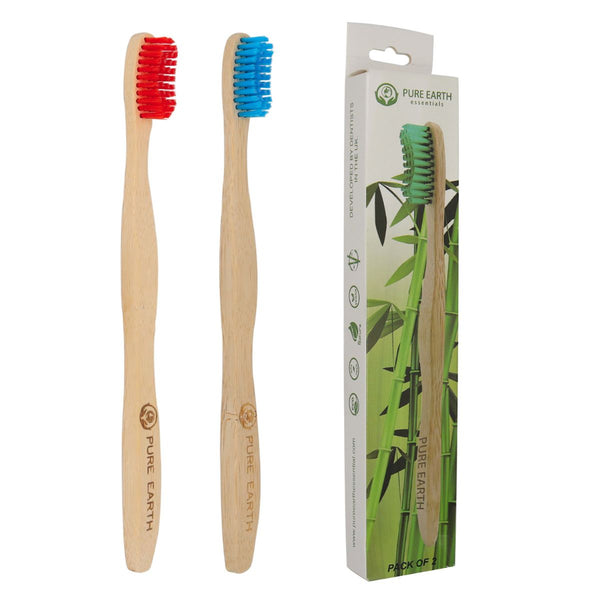 Natural Bamboo Adult Toothbrushes - Red and Blue - Pack of 2 - Starts at £1.49 per item