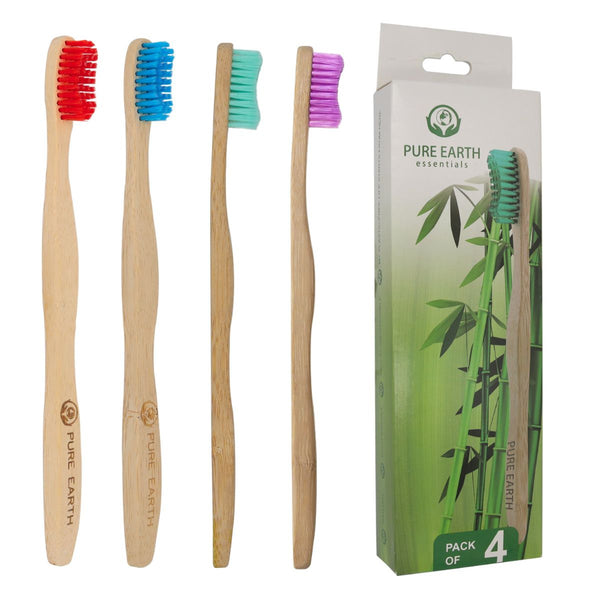 Natural Bamboo Adult Toothbrushes - Assorted Colours - Pack of 4