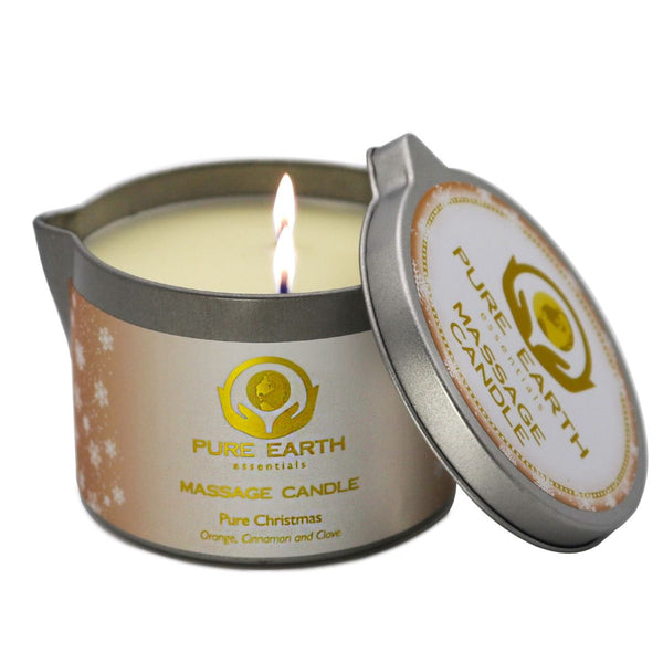 Pure Christmas Massage Candle - Orange, Clove, and Cinnamon