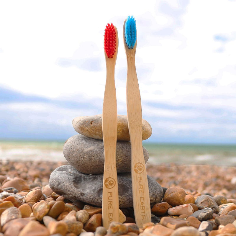 Natural Bamboo Adult Toothbrushes - Red and Blue - Pack of 2 - Starts at £1.99 per item