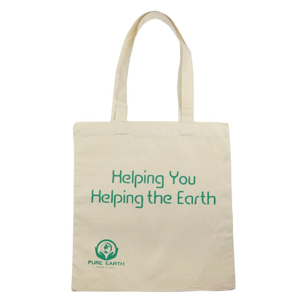 100% Pure Organic Cotton Tote Bag - Helping you, Helping the Earth