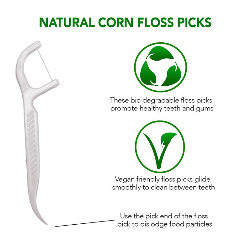 Biodegradable Dental Corn Floss Picks - 50 Pieces/Pack