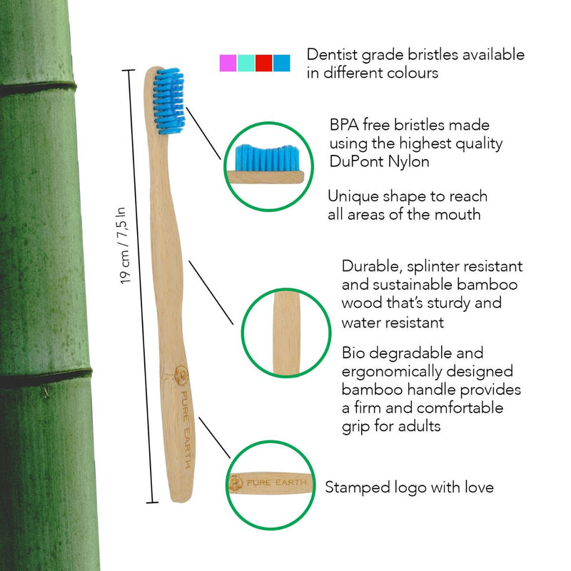 Natural Bamboo Adult Toothbrushes - Assorted Colours - Pack of 4 - Starts at £2.49 per item