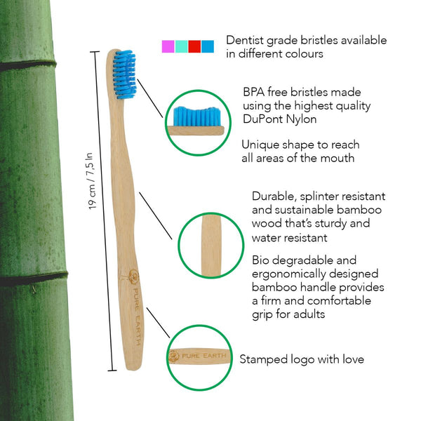 Natural Bamboo Adult Toothbrush - Single Pack - Starts at £0.85 per item