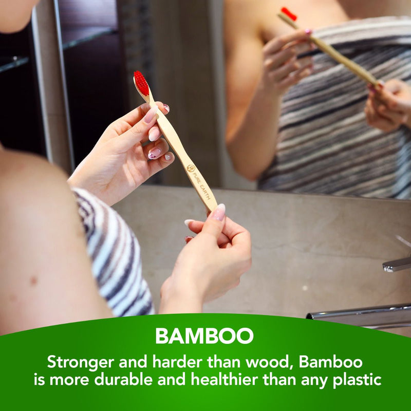 Natural Bamboo Adult Toothbrushes - Assorted Colours - Pack of 4 - Starts at £2.89 per item