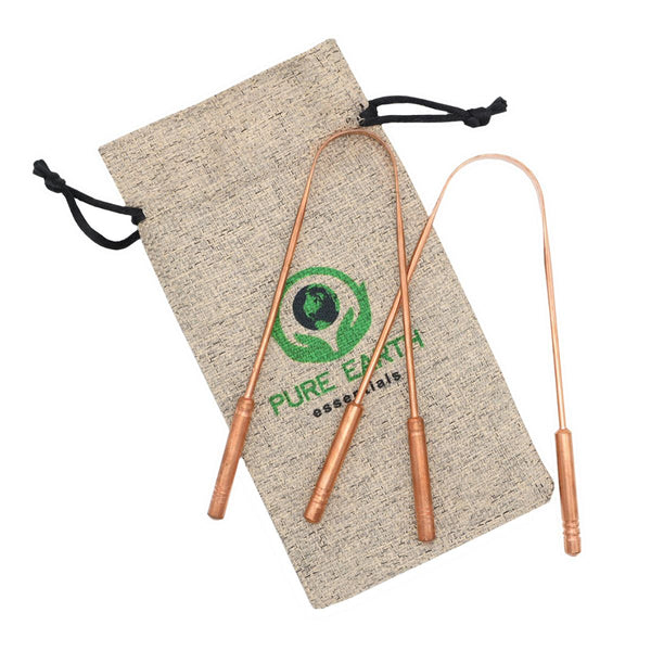 Copper Tongue Cleaner with Carry Bag - Double pack