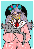 Mask wearing' cat loving' A4 Print