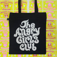 The Angry Girls Club 70's Tote Bag black and white
