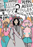 Women's suffrage illustration A4 print