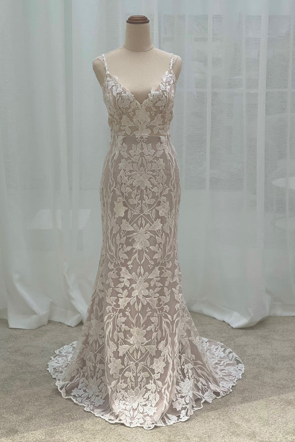Custom Lace Gown With Blush Stretch Lining